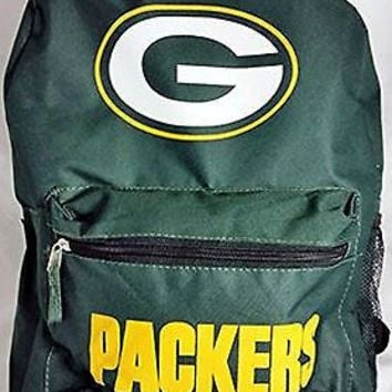 Green Bay Packers Name Logo Sport Laptop Backpack Book Bag NFL Licensed Football