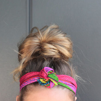 Neon Aztec Tribal Summer EDM Music Festival Concert Twist Head Scarf Dolly Bow Wire Headband Bun Wrap