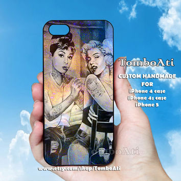 Audrey Hepburn and Marilyn Monroe Tattooed - Print on Hard Cover For iPhone 4/4S and iPhone 5 Case