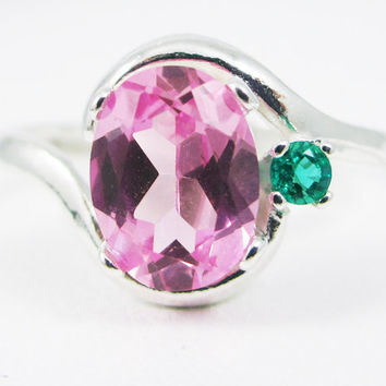 Pink Sapphire Oval Emerald Gemstone Accent Sterling Silver Ring