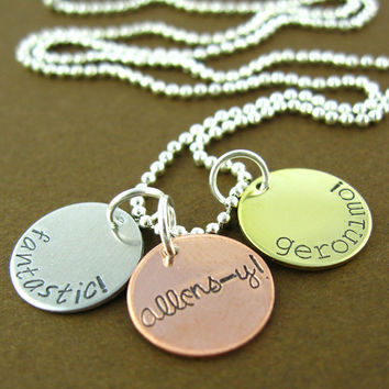Doctor Who Allons-y Fantastic Geronimo Necklace - Hand Stamped Doctor Who Necklace