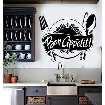 Vinyl Wall Decal Bon Appetit Kitchen Restaurant Chef Stickers Unique Gift (ig4538)