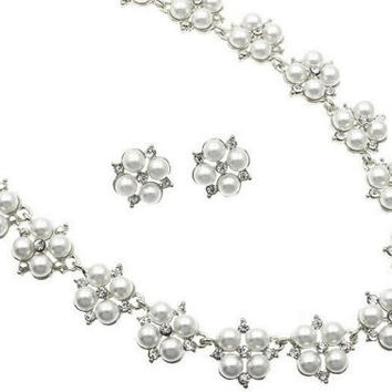 White Pearl Blossom Bridal Necklace Earring Set Silver Tone W Bling