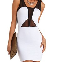 Mesh Inset Ponte Body-Con Dress: Charlotte Russe