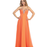 2014 Prom Dresses - Orange Chiffon Rhinestone Beaded Strapless Sweetheart Gown