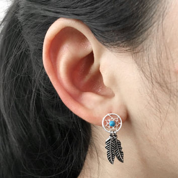 Dreamcatcher Earrings, turquoise dream catcher earrings, silver feather earrings, Native American, boho earrings, silver feather earrings,
