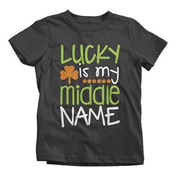 Shirts By Sarah Youth Funny Lucky Middle Name T-Shirt ST. Patrick's Day Tee Toddler