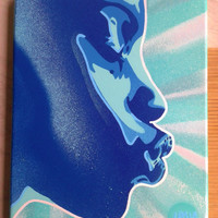 Kiss series, stencil art paintings,urban,afro american,African, pop art,turquoise,blue,abstract graffiti,woman,street art,canvas,home,living