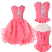 Teens Homecoming Graduation Beads Short/Mini Prom Party Ball Gown Cocktail Dress