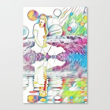 Girl in Space Pastel Dream Canvas Print by Zurine
