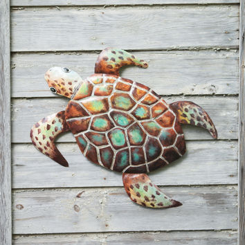 Painted Recycled Hand Hammered Sea Turtle Wall Hanging