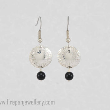 Chased dome sterling silver earrings with black onyx, gemstone, silver, handmade, one of a kind, pattern, gift for her, shiny, unique