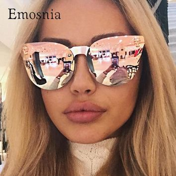 Emosnia Pink Sunglasses Rose Gold Skull Oversize Sunglasses Women Brand Designer Big Frame Sun Glasses For Female Ladies Eyewear