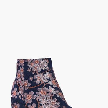 Leila Denim Floral Block Heel Ankle Boot | Boohoo
