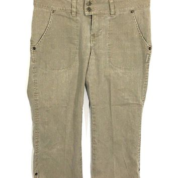 Silver Jeans Radar Denim Capris Beige Snap Flap Pockets Womens 27 - Preowned