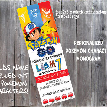 "Pokemon Go Birthday Ticket Invitation - Digital Printable Personalized Pokemon Go Invite/FONT - DIY 2""x6"" Pokemon Birthday Ticket Invitation"