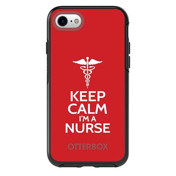 "DistinctInk™ OtterBox Symmetry Series Case for Apple iPhone / Samsung Galaxy / Google Pixel - Red White ""Keep Calm Im a Nurse"""