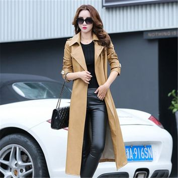 2017 Autumn Winter New Women Coat Fashion Slim Belted Pu Faux Leather Female X Long Trench Coat Jacket Khaki Black Overcoat C168