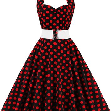 Atomic Black and Red Halter Polka Dot Dress