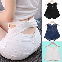 High Waist Waist Cross Pure Color Denim Slim Shorts