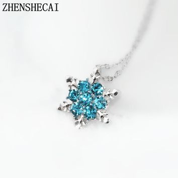 Fashion Jewelry Blue Crystal Rhinestone necklaces & pendants Beautiful Snowflake Flower Necklace For Women Statement Jewelry x24
