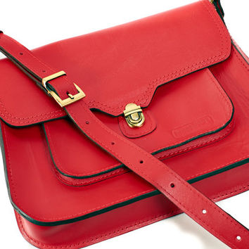 Red leather messenger bag. Leather crossbody bag. Red leather satchel. Red leather bag.