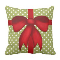 Modern Xmas Pillow, Polka Dots on green w/ Red Bow Pillows
