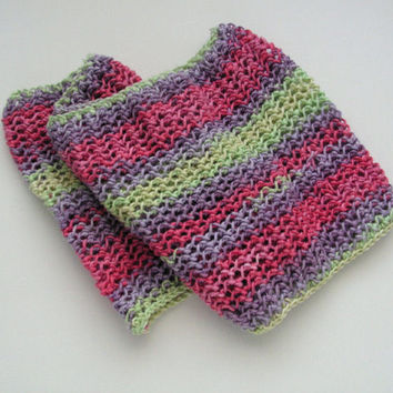 Cotton Cowl Neckwarmer in Varied Colour Yarn Pink Purple and Green No Wool Gift Idea Ready to Ship