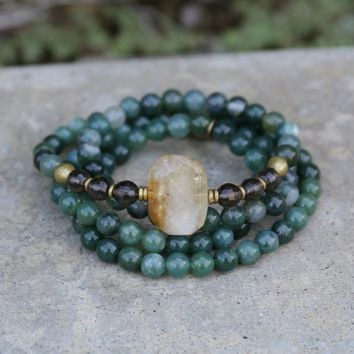 Moss Agate and Smoky Quartz Mala Bracelet