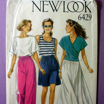 Pull over Tank Top, Tee Shirt, Wrap Front Top, Pants, Skirt, Shorts New Look 6429 Misses' Size 8, 10, 12, 14, 16, 18 Sewing Pattern Uncut