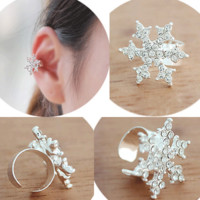 Snowflake Rhinestone Ear Cuff (Single, Adjustable, No Piercing)