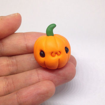 Miniature , Cute Little Pumpkin for Halloween, Clay Fimo - Figurine Kawaii Style Holiday Pumpkin