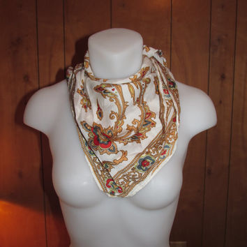 Vintage Scarf - Scroll Leaf Design - Gold, White, Red, Green - Square