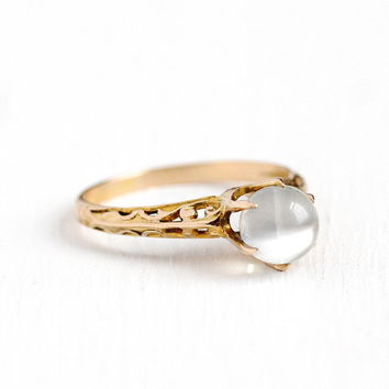 Antique Moonstone Ring - Vintage 10k Rosy Yellow Gold Art Deco Solitaire - Size 5 1/2 1920s Alluring Gem Raised Orb Fine Filigree Jewelry