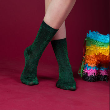 Glitterati Socks | Jungle Green