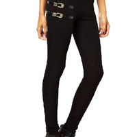 ROMWE Vegetable Leather Embellished Elastic Black Pants