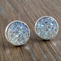 Druzy earrings- ab clear drusy silver tone stud druzy earrings
