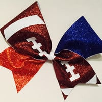 3in. Glitter Football Cheer Bow - choose your teams colors