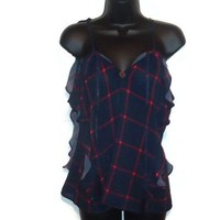 Blue and Red Sheer Tank Womens Ruffled Top with Gear Womens Clothing Medium