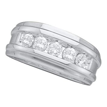 14k White Gold Round Channel-set Diamond Men's Masculine Wedding Band 1/2 Cttw - FREE Shipping (US/CAN)