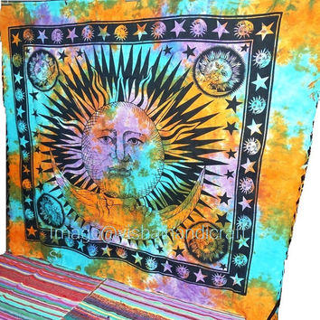 Good Morning Sun Moon Tapestry ,Stars Tapestry, Indian Tapestry, Wall Hanging Tapestry, Queen Dorm Bedding, Sun-Moon Beach Throw