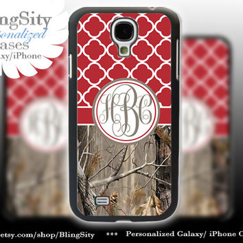 Monogram Galaxy S4 case S5 Real Tree Camo Red Quatrefoil Personalized RealTree Samsung Galaxy S3 Case Note 2 3 Cover