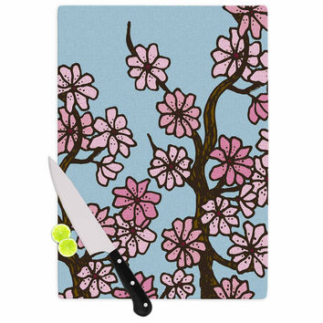 """Art Love Passion """"Cherry Blossom Day"""" Floral Illustration Cutting Board"""