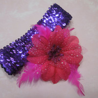 Purple Sequin headband with Pink feather flower for children, baby, hair accessories by MarlenesAttic