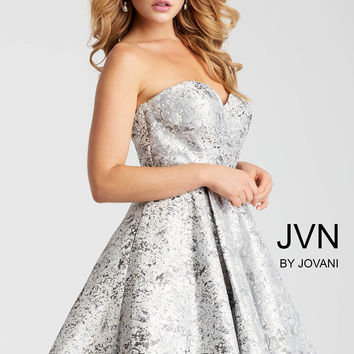 Jovani JVN53203 Silver Strapless Dress With Full Skirt