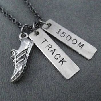 RUN TRACK Necklace - Choose Your Distance or Event - 100m, 200m, 400m, 800m, 1500m, 1600m, 3000m, 3200m, 5000m, 10,000m, SPRINTS, RELAY, HURDLES, DISTANCE, POLE VAULT, THROWS, JUMPS or STEEPLE - Nickel pendants priced with gunmetal chain