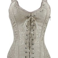 Bi.tencon Fashion Women Plastic Boned Brocade Corset Beige Corset Top Lace up 2xl