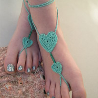 Mint barefoot sandals, beach wedding jewelry, bridal shoes, bridesmaid accessory