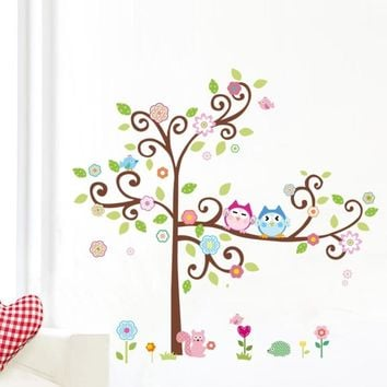 kawaii owls tree wall stickers for kids room decorations nursery cartoon children girls home decals 1011. animals mural arts 4.0
