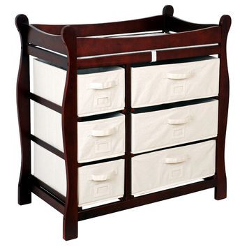 Badger Basket Cherry Sleigh Style Changing Table with Six Baskets